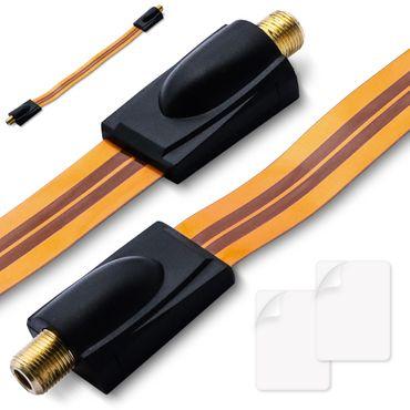 SAT Antennenkabel extrem flach 0,3 mm 2x Fensterdurchführung F Kupplung F-Buchse – Bild 1