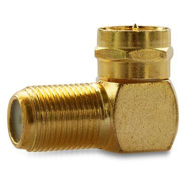 2x SAT Winkel Adapter 90° F-Winkelstecker Vergoldet Winkeladapter Kupplung Kabel – Bild 2