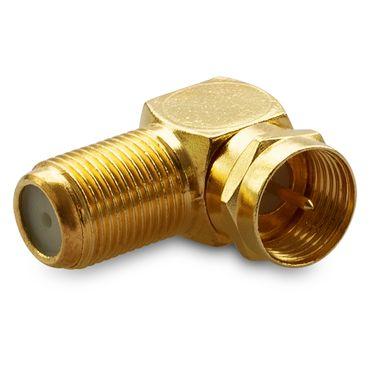 2x SAT Winkel Adapter 90° F-Winkelstecker Vergoldet Winkeladapter Kupplung Kabel – Bild 4