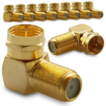 10 SAT Winkel Adapter 90° F-Winkelstecker Vergoldet Winkeladapter Kupplung Kabel – Bild 1