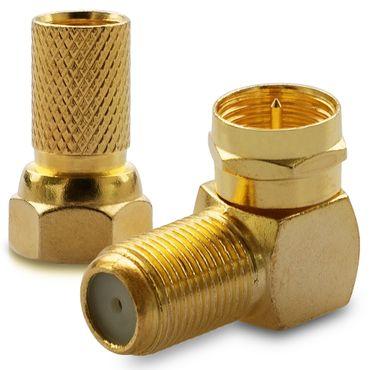 2x F-Stecker 2x SAT Winkel Adapter 90° F-Winkelstecker Vergoldet Koaxialkabel – Bild 2