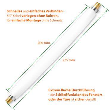 5x SAT Fenster Durchführung Antennen Kabel 22cm flach Koaxialkabel F-Kupplung – Bild 10