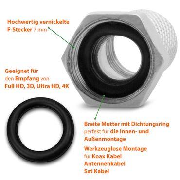 2x F-Stecker High End 7mm breite Mutter Gummidichtung Sat Antennen Koaxialkabel – Bild 7