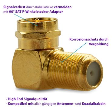 20x High End F-Winkelstecker 90° Winkeladapter Vergoldet Sat Antennen Koaxkabel – Bild 7