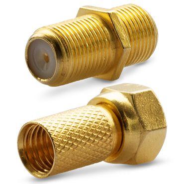 F Stecker Vergoldet 2x F Verbinder 1x High End Vergoldet Sat Antennen Buchse Koaxialkabel – Bild 3