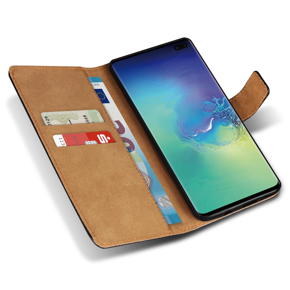 2f99fdc8ac4ab Leder Hülle Samsung Galaxy S10 Plus Tasche Schutzhülle Cover Book Case  Schwarz