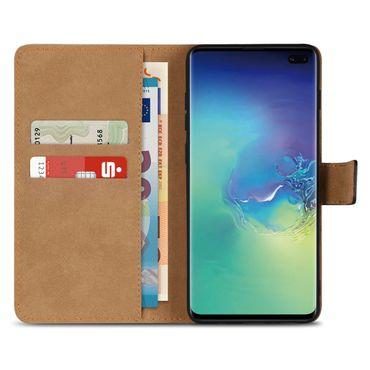 Leder Hülle Samsung Galaxy S10 Plus Tasche Schutzhülle Cover Book Case Schwarz – Bild 3