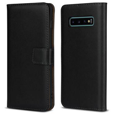 Leder Hülle Samsung Galaxy S10 Plus Tasche Schutzhülle Cover Book Case Schwarz – Bild 8