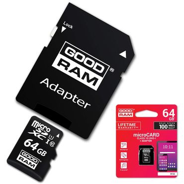 GoodRam Ultra 64GB microSDXC High Speed Speicherkarte + Adapter bis zu 100MB/Sek – Bild 1