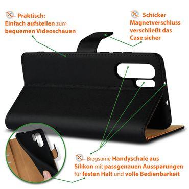 Leder Hülle Huawei P30 Pro Tasche Schutzhülle Flip Cover Book Klapp Case Schwarz – Bild 5