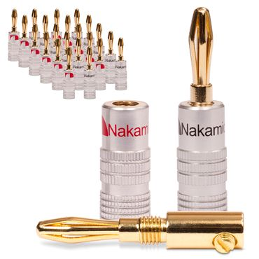 24x Nakamichi Bananenstecker vergoldet High End Bananas 24K für Kabel bis 6mm²  – Bild 1