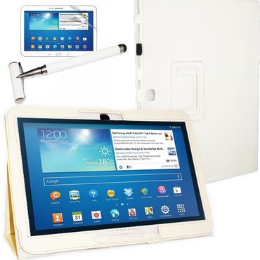 Tasche Hülle f. Samsung Galaxy Tab 3 10.1 P5200 P5210 Tablet Cover Etui Pen weiß