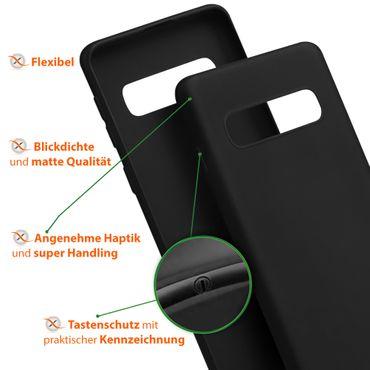 Handy Hülle Samsung Galaxy S10 Schutzhülle Silikon Tasche Case Soft Matt Schwarz – Bild 7