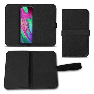 Handy Hülle für Samsung Galaxy A40 Filz Tasche Schutzhülle Filzhülle Cover Case – Bild 2