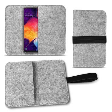 Handy Hülle für Samsung Galaxy A50 Filz Tasche Schutzhülle Filzhülle Cover Case – Bild 8