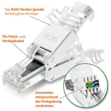 8x Netzwerkstecker CAT6A RJ45 Netzwerk Werkzeuglos CAT 5 / 6 / 7 LAN Patch Kabel – Bild 8