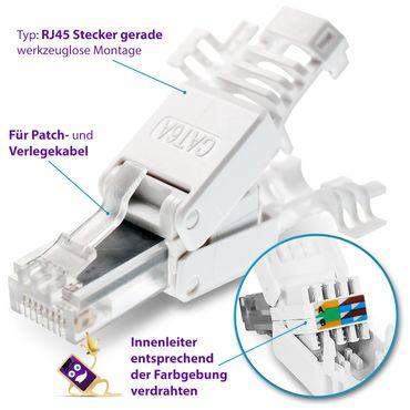 16x CAT 6A RJ45 Netzwerk Stecker Netzwerkstecker CAT 7 6 5 LAN Kabel werkzeuglos – Bild 5