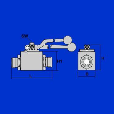 10L Hydraulik 2 Wege Kugelhahn, DN8 Absperrhahn, Hydraulikhahn, M16x1,5,  – Bild 2