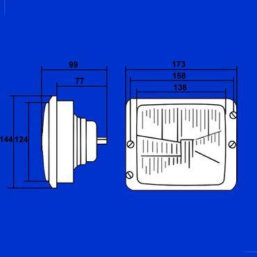 H4 Scheinwerfer E Zeichen  Abblendlicht + Fernlicht Case IHC 383, 423, 453, 654, 724, 824, 946, 1046, 1246 – Bild 2