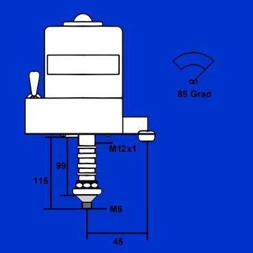 Wischermotor, Scheibenwischermotor, 12V 85 Grad, Konus 8mm, Mutter M6 mit Schalter – Bild 2