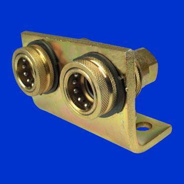 doppelte hydraulische Abreisskupplungen Hydraulikkupplung NW 10 komplett auf einem Halter