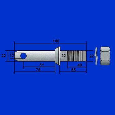 2 Stück Unterlenkerbolzen, Gerätebolzen Kat I = 22mm, Aufnahme Dreipunkt Unterlenker – Bild 1