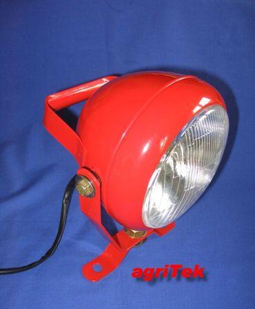 Arbeitsscheinwerfer, rot Metall mit Zugschalter, Scheinwerfer Metallscheinwerfer