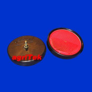 2 Stück Reflektor, Katzenauge, Rückstrahler, rot, rund D = 65mm, mit Schraube M5
