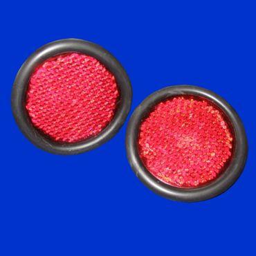 2 Stück Reflektor, 50mm, Rückstrahler, rot, rund, Gummifassung, Schraube M5 – Bild 1