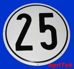 Kunststoffschild, Schild 25 km/h, aus Kunststoff Geschwindigkeit, Geschwindigkeitsanzeige, Schild 001