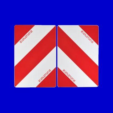 2 Stück Warntafel 423 x 282mm beidseitig beklebt nach DIN 11030, Warnschild rot weiss