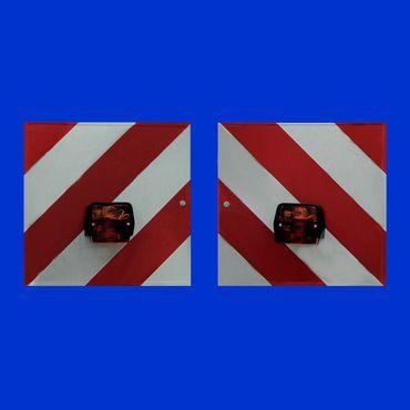 2 x Warntafel komplett verkabelt mit Beleuchtung nach vorne und hinten §51c StVZO DIN 11030 – Bild 1