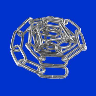 3m Spannkette, Kette verzinkt mit Oese / Glied 7 x 49mm, C Kette langgliedrieg DIN 763