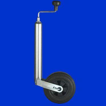Stützrad Vollgummi, gebremst für Anhänger, Rohr 48mm, Hub 220mm, 150kg, Drucklager – Bild 1