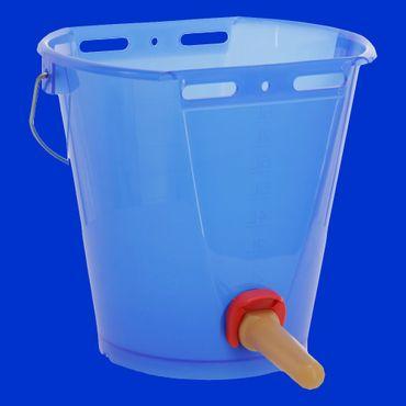 8 Liter Tränkeeimer, Saugeimer, Nuckeleimer, blau transparent mit FixClip-Ventil