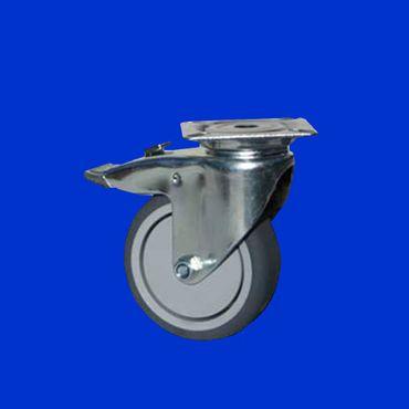 2 Stck Lenkrolle, Bremsrolle 75mm mit Befestigungsplatte, Kugelgelagert, 60kg/ Rad