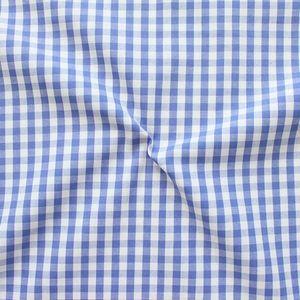 Cotton Shirt Quality Gingham medium colour Blue - White