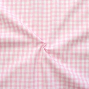 Cotton Shirt Quality Gingham medium colour Rose - White