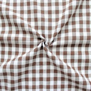 100% Cotton Fabrics 1 cm x 1 cm Gingham colour: Brown - White