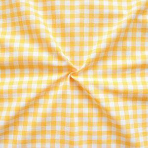 100% Cotton Fabrics 1 cm x 1 cm Gingham colour: Yellow - White
