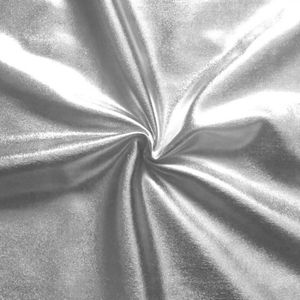 Bi-Stretch Foil Jersey Metallic shimmering surface, colour: Silver