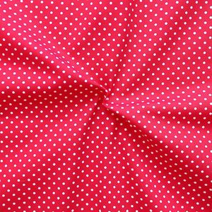 2 mm Polka Dots fabric 100% Cotton Red with White Spots