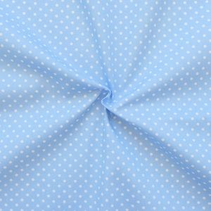 2 mm Polka Dots fabric 100% Cotton Light Blue with White Spots