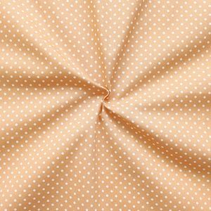 2 mm Polka Dots fabric 100% Cotton Beige with White Spots
