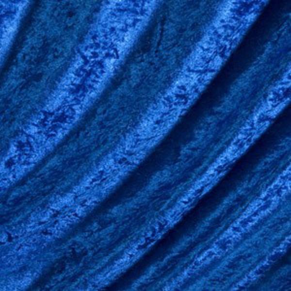 Terciopelo Pana Color Azul Royal Crushed Velvet