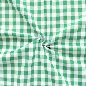 100% Cotton Fabrics 1 cm x 1 cm Gingham colour: Green - White