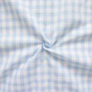 100% Cotton Fabrics 1 cm x 1 cm Gingham colour: Lightblue - White