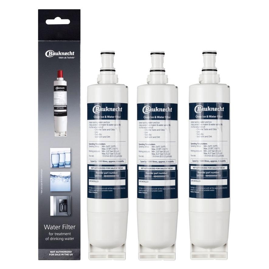 3 x Bauknecht Wasserfilter SBS103 / 484000008723 ersetzt SBS003 / 481281719155