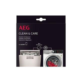 AEG Clean & Care Entkalker und Entfetter 9029798049  für Waschmaschinen und Geschirrspüler (Packung mit 6 Beuteln)
