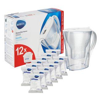 Brita Wasserfilterkanne Marella, inkl. 12 Wasserfilterkartuschen Brita Maxtra +